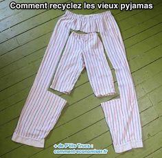 Vous ne savez pas quoi faire des vieux pyjamas ? Même s'il ne vous vontplus, ne les jetez pas ! Ils peuvent encore servir. Vous pouvez les recycler facilement en pyjamas pour enfants. Vous ne me croyez pas ? Regardez : Comment Faire 1. Coupez levieux pyjama à la bonne......