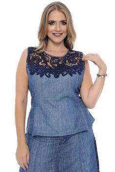 Blusa Plus Size Jeans com Renda