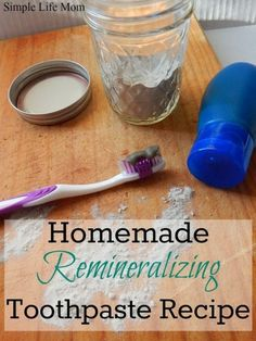 An easy, homemade remineralizing toothpaste recipe to help build minerals that your body and teeth need to maintain good oral health. Clay, calcium, coconut: