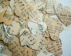 Vintage Love Music  Hearts - Hymnal Sheet Music Confetti wedding party decor favor