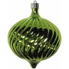 Limeade 150mm Shatterproof Swirled Onion Christmas Ornament, Green