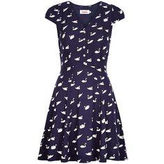 Louche Cathleen Swan Dress, Navy