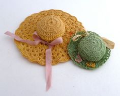 Pincushions Miniature crochet hats - vintage crochet miniature hats