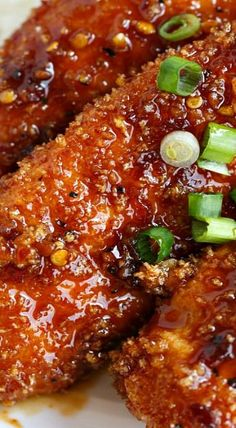 Crispy Sweet and Spicy Chicken Tenders - Table for Two® by Julie Wampler Spicy Baked Chicken, Sweet And Spicy Chicken, Baked Chicken Tenders, Chicken Tender Recipes, Chicken Wing Recipes, Spicy Chinese Chicken, Chicken Ideas, Fried Chicken, Indian Food Recipes