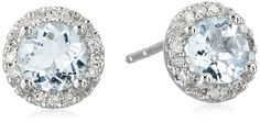 10k White Gold Aquamarine and Diamond (1/10cttw) Stud Earrings ** You can get more details by clicking on the image.
