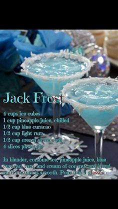 Christmas cocktails with blue curacao!