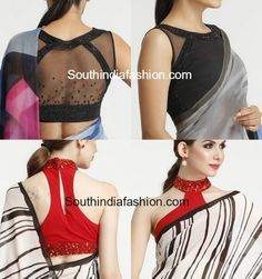 stylish saree blouse designs photo Satya Paul Saree Blouse Designs, blouse back neck designs, net blouse, stylish and trendy blouse designs Saree Jacket Designs, Choli Designs, Sari Blouse Designs, Fancy Blouse Designs, Designer Blouse Patterns, Designer Saree Blouses, Blouse Styles, Satya Paul Sarees, Net Blouses