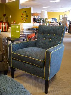 The Boyd Chair by Robin Bruce. The pattern and contracting welt makes the chair stand out.