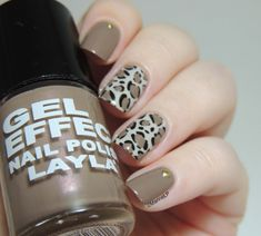 Marine Loves Polish: Un Happy Graouversaire pour Pentagruelle !  Neutral shades - leopard print - stamping nail art,  Layla gel polish is the base