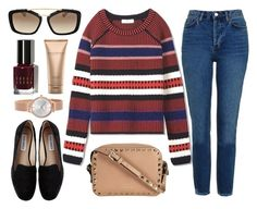 """""""Sweet Talk"""" by monmondefou ❤ liked on Polyvore featuring Tory Burch, Topshop, Skagen, Steve Madden, Prada, Bobbi Brown Cosmetics, Donna Karan, Fall, red and Blue"""