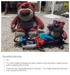 Oh my goodness I love this. :) Look closely, and you'll see a tiny little Lotso figurine sitting on the doll. XD