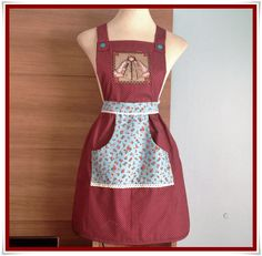 Step by Step Kitchen Apron with Pocket. Clothing Patterns, Dress Patterns, Sewing Patterns, Apron Patterns, Sewing Aprons, Apron Pockets, Medieval Clothing, Apron Dress, Crochet Round