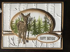 Stampin up nature's beauty and woodland embossing folder Happy Birthday Cards Handmade, Simple Birthday Cards, Homemade Birthday Cards, Masculine Birthday Cards, Birthday Cards For Men, Masculine Cards, Greeting Cards Handmade, Fall Cards, Winter Cards