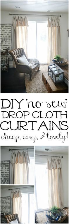 Vintage French Soul ~  New Curtains & Some DIY No-Sew Curtains -