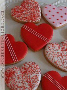 heart stripe sugar cookies