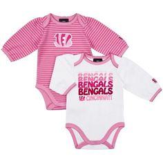 Gerber Cincinnati Bengals Infant Girls 2-Pack Bodysuit - Pink/White