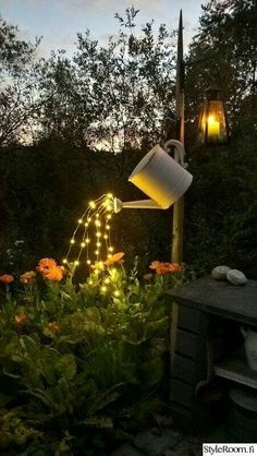 Watering can garden light! Too neat