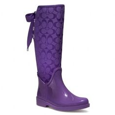 LVE these boots. i would wear them Every time it rained. A gal can always use another pair of purple rain boots, can't she? Boot Over The Knee, Purple Rain Boots, Coach Rain Boots, Purple Love, Purple Stuff, Purple Lilac, Raincoats For Women, Boutique, Designer Shoes