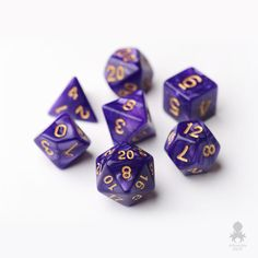Purple pearl RPG dice set dungeons & dragons, DnD, rpg games, polyhedral dice set, perfect for any collection. Lila Gold, Rpg Dice, Gold Number, D&d Dungeons And Dragons, Wild Hunt, Kraken, Goblin, Nerdy, Numbers