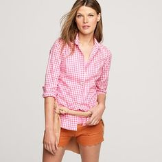 Lusting over this JCrew gingham button down.  Thinking I'll go with the pink over blue or neon yellow...