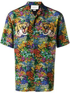 Shop Gucci floral print bowling shirt.