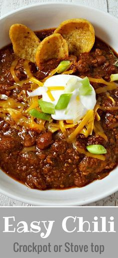 Easy Crockpot Chili Recipe for Two - This crockpot Chili for two is super easy a. - Easy Crockpot Chili Recipe for Two – This crockpot Chili for two is super easy and flavorful with - Slow Cooker Chili, Crock Pot Chili, Chili Recipe Stovetop, Slow Cooker Recipes, Easy Crockpot Chili, Steak Chili Recipe, Crock Pot Chilli Recipe, Flavorful Chili Recipe, Hearty Chili Recipe
