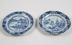 PAIR OF  BLUE AND WHITE CANTONESE OCTAGON SHAPED PLATES