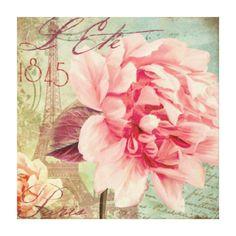 Vintage Rose, Paris, Ete (Summer) Canvas Print Pink Canvas Art, Canvas Art Prints, Paris Poster, Vintage Poster, Vintage Paris, Decoupage Paper, Vintage Images, Pink Flowers, Floral