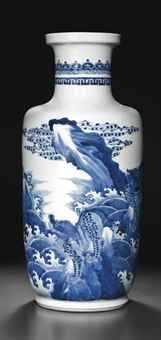 A BLUE AND WHITE ROULEAU VASE KANGXI PERIOD (1662-1722) The sides are finely decorated in varying tones of blue with a continuous scene of mythical beasts perched on rocks surrounded by a tumultuous ocean. 18 in. (46 cm.) high