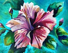 Hibiscus  with accent on the petals expressed with various hues of reds with green  leaves providing a contrasting background. Description from etsy.com. I searched for this on bing.com/images