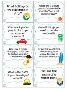Summertime Trivia Questions & Games {for kids of all ages} for language, articulation & fluency