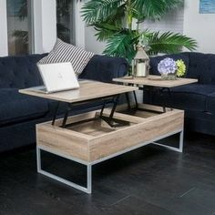 Store extra items in this lift-top coffee table with a casual modern design. Two solid middle sections separate and lift to provide two convenient surface areas for eating or working on your laptop. T