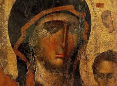 "Theotokos Hodegetria (She who leads - the guide who shows the way), late 14th century. The ""Mona Lisa of Byzantium"", as it has been characterized. The Icon is located at the Church of the Agia Panagia (Assumption of Virgin Mary) of Meronas, (Rethymno, Crete). The Church is a domed basilica and consists of three naves. One nave is dedicated to Agios Georgios (Saint George), the other to the Assumption of Virgin Mary, while the third, and latest, the Apostles Peter and Paul."