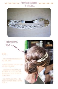 DIY: time to make some summer headbands Check out the website, some girl tried a new diet and tracked her results Headband Hairstyles, Diy Hairstyles, Pretty Hairstyles, Diy Headband, Lace Headbands, Summer Headbands, Easy Updo, Colored Highlights, Diy Hair Accessories