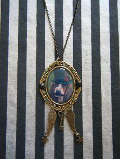 Steampunk doggy Basset Hound with a mustache by indieodyssey, $10.00