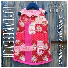 Handmade girls shift dress, Peter Pan collar www.fb.com/Hoylakebeach #original #bespoke