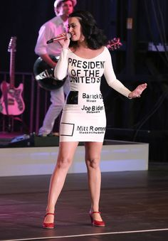 Katy Perry making a political statement by wearing a latex Obama dress at the America Forward! Grassroots Event in Las Vegas.  (Earlier pic did not pin correctly.)