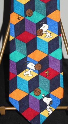 Snoopy Basketball Tie  Best Player on the Block Colorful Woodstock 100% Silk #SalantMenswearGroup #NeckTie