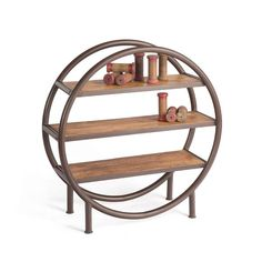 Rounder Bookcase with Wood Shelves in Round Metal Frame