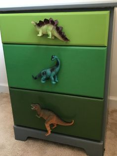 Dino Dresser Makeover – With a Wink and a Smile - All About Decoration Dinosaur Kids Room, Dinosaur Room Decor, Dinosaur Bedroom, Dinosaur Dinosaur, Diy Dresser Makeover, Furniture Makeover, Dresser Makeovers, Baby Boy Rooms, Baby Room