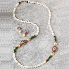 Exotic Pearls and <i>Cloisonné</i> Necklace and Earrings