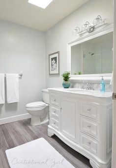 100 Easy Bathroom Decor Ideas   Shutterfly- faux wood flooring