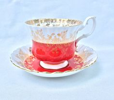 Royal Albert Teacup Red and Gold Crimson Bone China England Teacup by EllasAtticVintage on Etsy