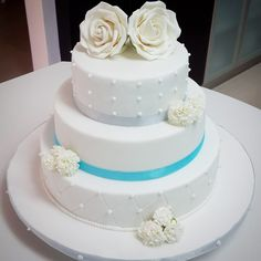 Wedding cake - all 3 tiers are fruit cake with marzipan and fondant topping