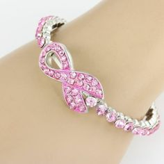 What a great way to show your support!!    Breast Cancer Awareness Ribbon bracelet bangle pet bling Pink jewelry #Unbranded #Bangle