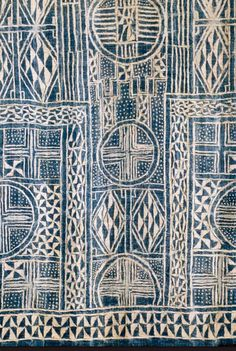 Africa | N'dop, ceremonial hanging. Cameroon | Narrow strip woven cotton, stitch resist indigo-dyed  || Detail ~ Partial view
