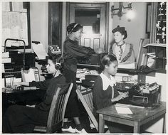 African American Office Clerks African American young female clerks working in Chicago Y.W.C.A. office.  Vintage African American photography courtesy of Black History Album, The Way We Were.  Follow Us On Twitter @blackhistoryalb