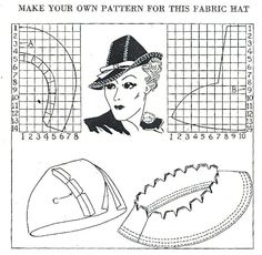 what-i-found: Make your own pattern for this fabric hat - 1937