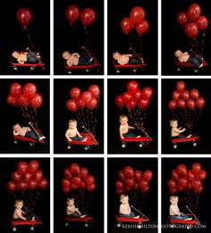 Monthly progression photos using a wagon and balloons http://kerihamiltonphotography.com http://facebook.com/kerihamiltonphotography Instagram: @kerihamiltonphotography
