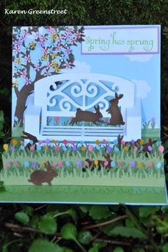 Garden bench pop up card by Karen Greenstreet. Garden Bench die from Karen Burniston.
